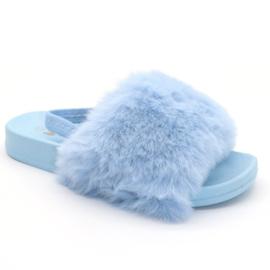 Blue fluffy slipper