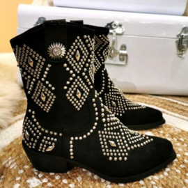 Suede studded boots