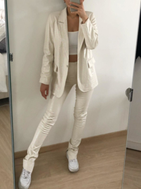 White side split leather legging