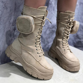 Beige bagged boots
