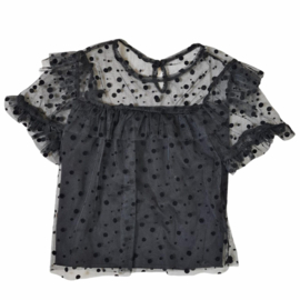 Black dotted & lace top