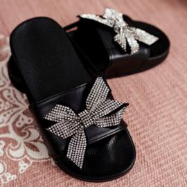 Glitter bow slippers
