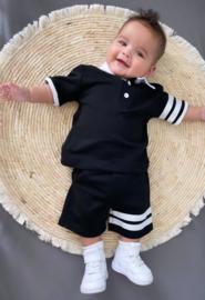 Cool striped polo set - black