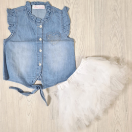 White tutu & denim blouse set
