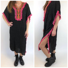 Black with pink beach dress