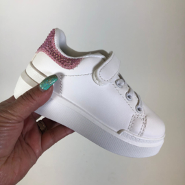 White sneakers pink strass