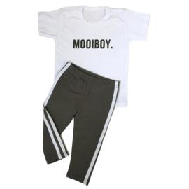 Mooiboy & green side stripe legging set