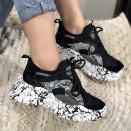 Black marble sneakers