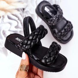 Black 2 braids slipper