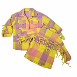 Blocked Fringe blouse jacket - Yellow