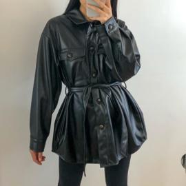 Leather blouse jacket black