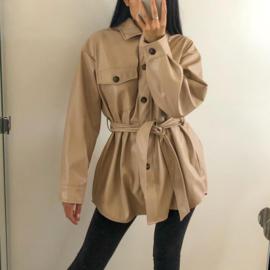 Leather blouse jacket beige
