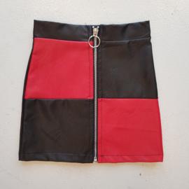 Black & Red leatherlook skirt