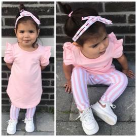 Pink ruffle & stripe set
