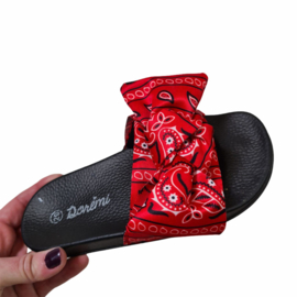 Red paisley slippers