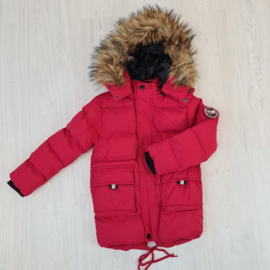 Furry boys jacket - red