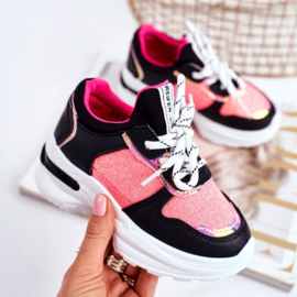Black/Pink glitter sneakers