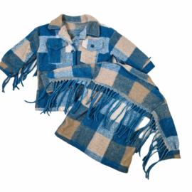 Blocked Fringe blouse jacket - Blue