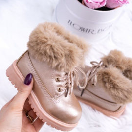 Champagne furry timby boots