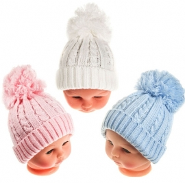 Baby cable pom beanie