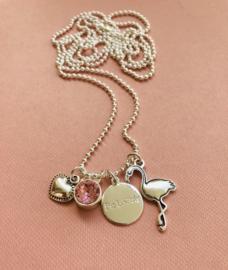 Be Lovely - Zilverkleurige ketting, met roze swarovski, hartje en flamingo
