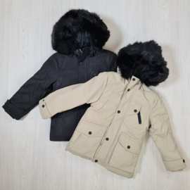 Black & beige boys parka