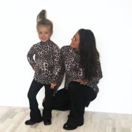 Brown up up leopard top