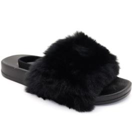 Black fluffy slipper