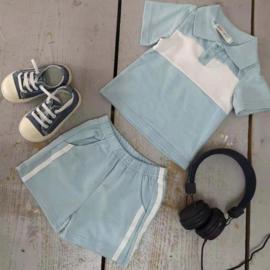 Blue white stripe polo set