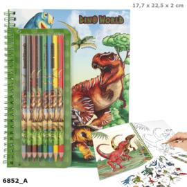 Dino World kleurboek met kleurpotloden