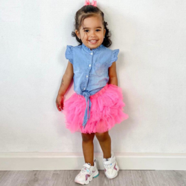 Fuchsia tutu & denim blouse set