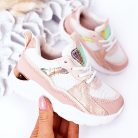 White & pink snake sneaker