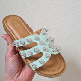 Studded slippers - mint