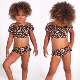 Leopard & Ruffles off shoulder bikini