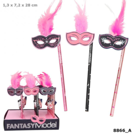 Fantasy Model potlood met masker en veren