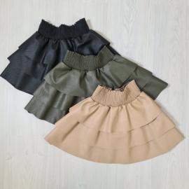Ruffled leatherlook skirt