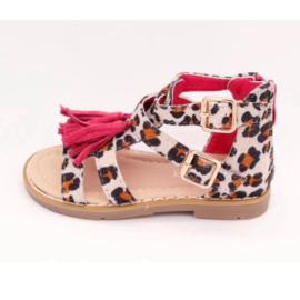 Leopard fringe sandals