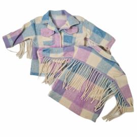 Blocked Fringe blouse jacket - Purple