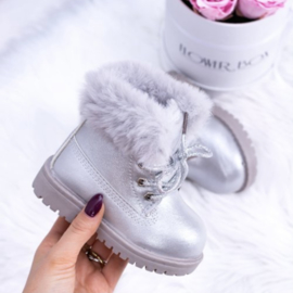Silver furry timby boots