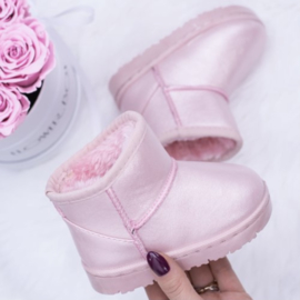 Shiny pink winter boots