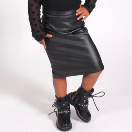 All black leather skirt
