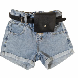 Bagged blue denim short