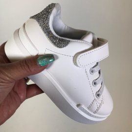 White sneakers silver strass