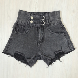 The basic black denim short