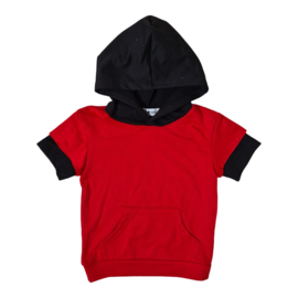 Hooded pocket tee - Rood