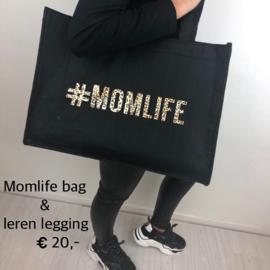 #Momlife bag (leopard) + leather legging