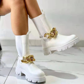 Chelsea & Gold Chain boots - White
