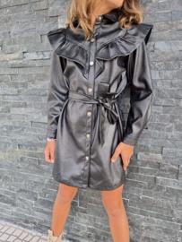 Leatherlook ruffled dress