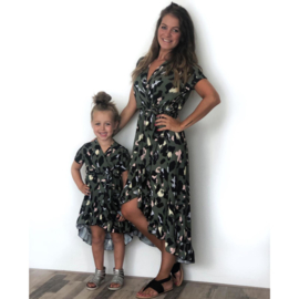 Big leopard green dress  shortsleeves (mommy & me)
