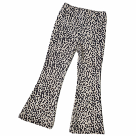 Beige leopard flair pants